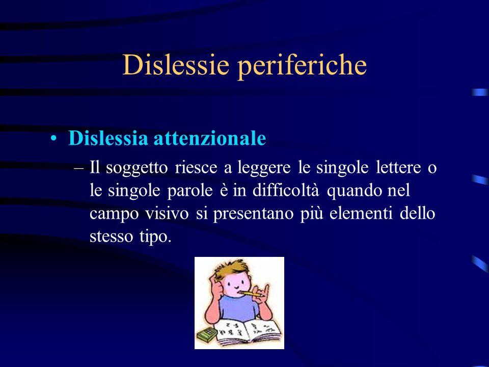Dislessie periferiche Dislessia attenzionale –Il soggetto riesce a leggere le singole lettere o le singole parole è in difficoltà quando nel campo vis