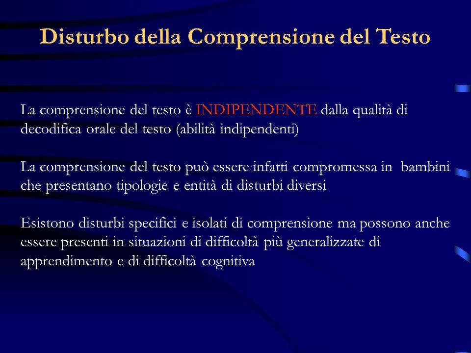 La comprensione del testo è INDIPENDENTE dalla qualità di decodifica orale del testo (abilità indipendenti) La comprensione del testo può essere infat
