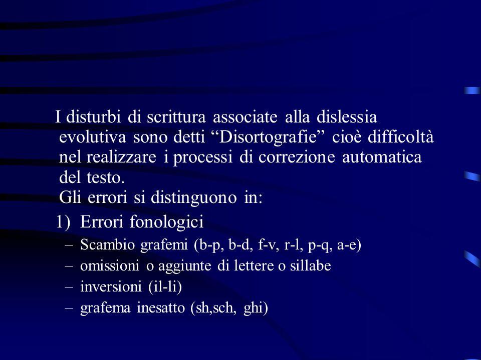 I disturbi di scrittura associate alla dislessia evolutiva sono detti Disortografie cioè difficoltà nel realizzare i processi di correzione automatica