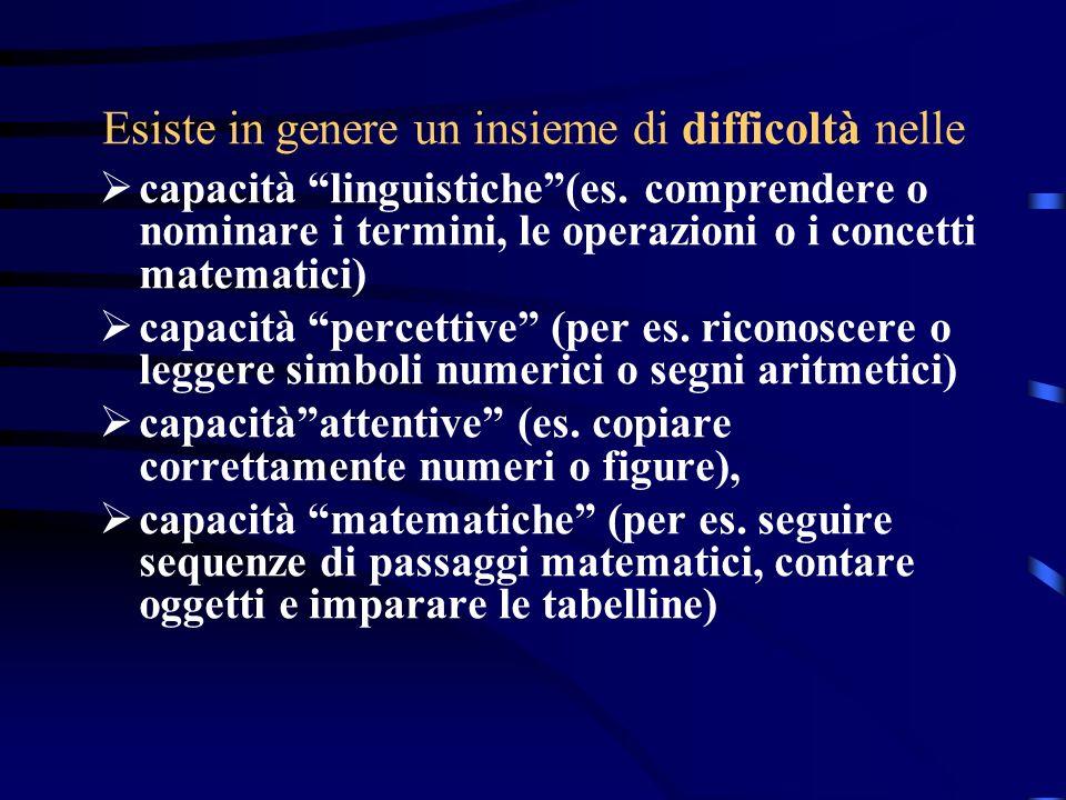 Esiste in genere un insieme di difficoltà nelle capacità linguistiche(es. comprendere o nominare i termini, le operazioni o i concetti matematici) cap