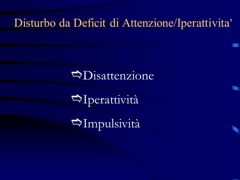 Disattenzione Iperattività Impulsività Disturbo da Deficit di Attenzione/Iperattivita