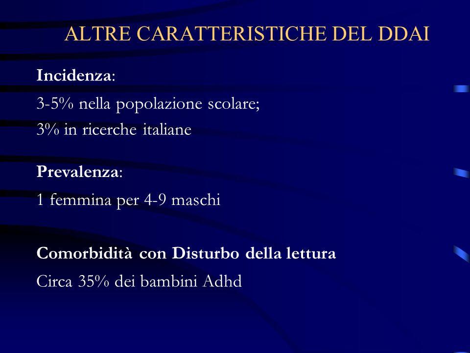 Incidenza: 3-5% nella popolazione scolare; 3% in ricerche italiane ALTRE CARATTERISTICHE DEL DDAI Prevalenza: 1 femmina per 4-9 maschi Comorbidità con