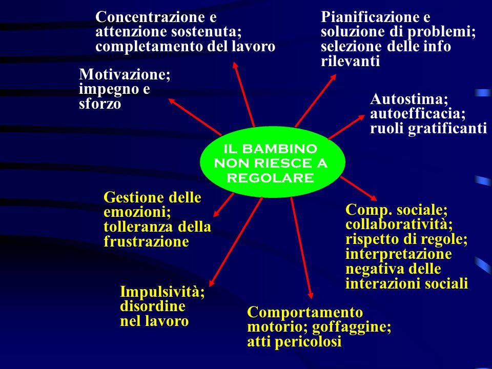 Concentrazione e attenzione sostenuta; completamento del lavoro Pianificazione e soluzione di problemi; selezione delle info rilevanti Motivazione; im