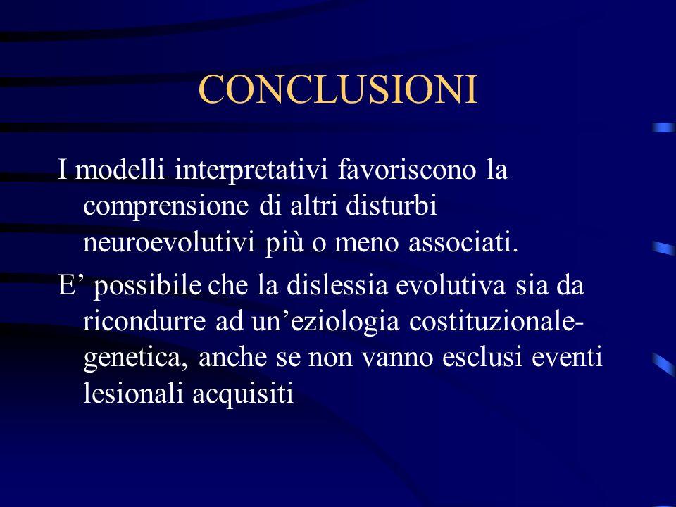 CONCLUSIONI I modelli interpretativi favoriscono la comprensione di altri disturbi neuroevolutivi più o meno associati. E possibile che la dislessia e
