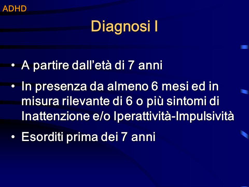 Diagnosi I A partire dalletà di 7 anniA partire dalletà di 7 anni In presenza da almeno 6 mesi ed in misura rilevante di 6 o più sintomi di Inattenzio