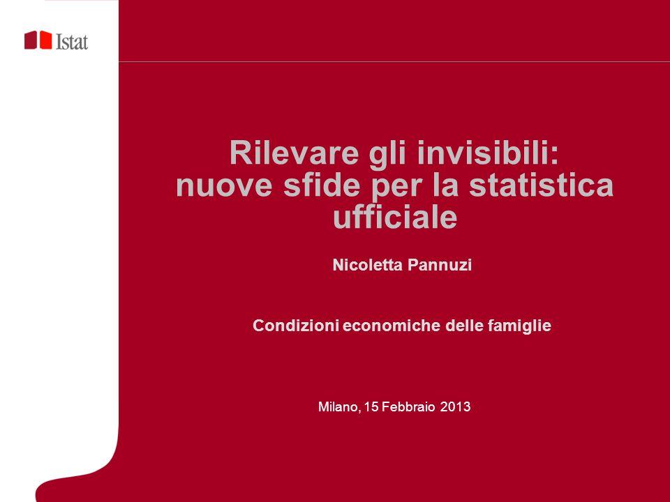 Rilevare gli invisibili: nuove sfide per la statistica ufficiale Milano, 15 Febbraio 2013 Nicoletta Pannuzi Condizioni economiche delle famiglie