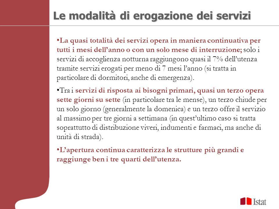 Le modalità di erogazione dei servizi La quasi totalità dei servizi opera in maniera continuativa per tutti i mesi dellanno o con un solo mese di inte