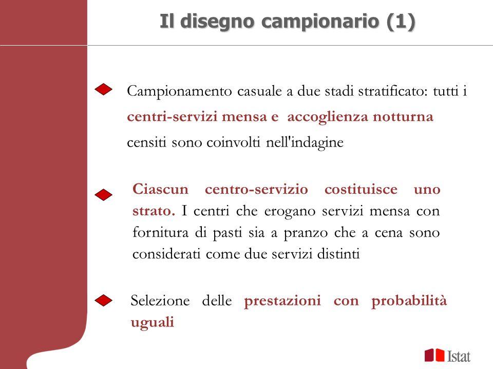 Il disegno campionario (1) Campionamento casuale a due stadi stratificato: tutti i centri-servizi mensa e accoglienza notturna censiti sono coinvolti