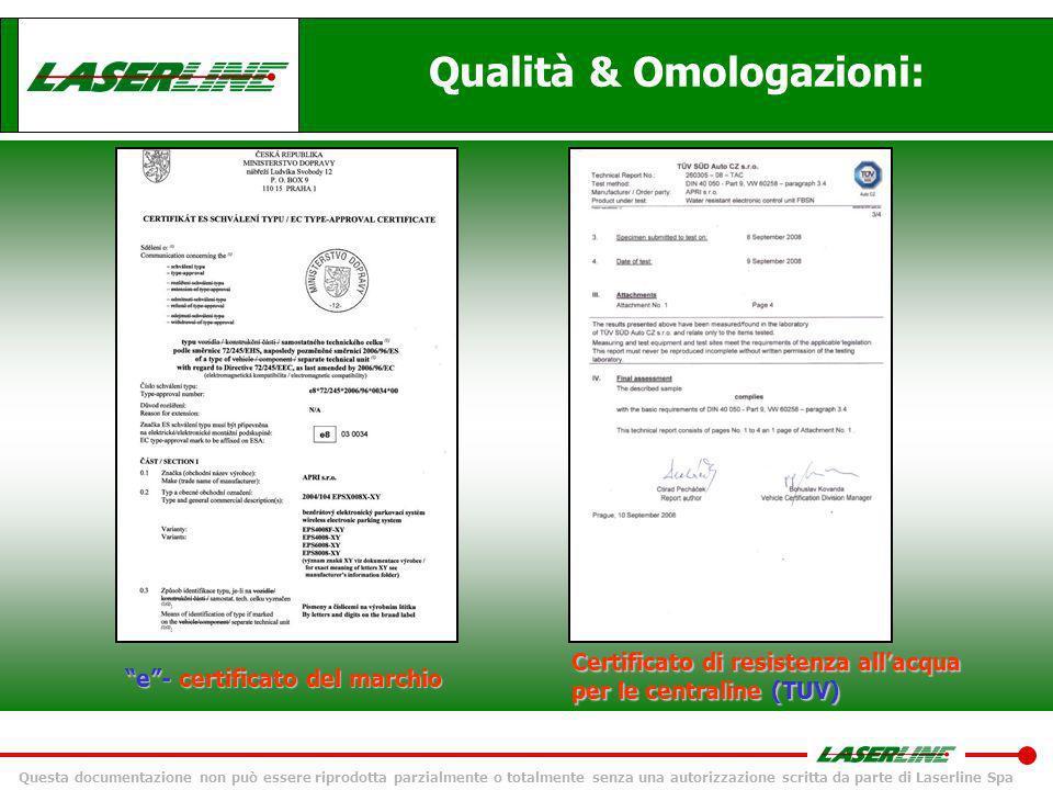Questa documentazione non può essere riprodotta parzialmente o totalmente senza una autorizzazione scritta da parte di Laserline Spa Qualità & Omologa