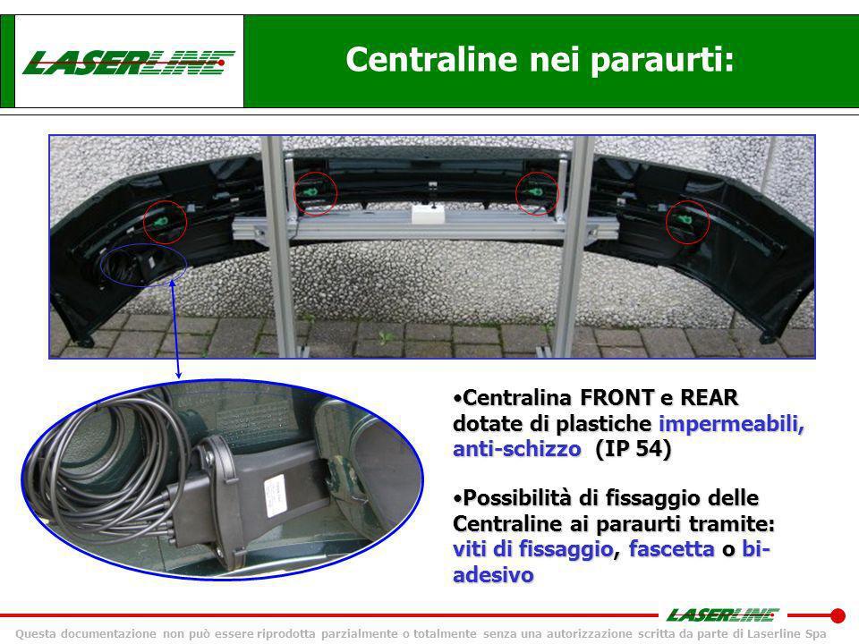 Questa documentazione non può essere riprodotta parzialmente o totalmente senza una autorizzazione scritta da parte di Laserline Spa Sistema di parcheggio RF: vantaggi & benefici 4) Modularità del sistema & configurazione After Market: EPS4008= LCD + 4 REAREPS4008= LCD + 4 REAR LCD + 2 REAR (centrali) LCD + 2 FRONT (corner) LCD + 2 FRONT (corner) + 4 REAR Per mezzo della procedura di autoapprendimento: Possibilità di composizione del KIT da fabbrica: EPS4008F= LCD + 4 FRONTEPS4008F= LCD + 4 FRONT EPS8008=LCD +4F+ 4REPS8008=LCD +4F+ 4R LCD + 4 FRONT + 2 REAR (centrali) LCD + 2 FRONT (corner) + 2 REAR (centrali)