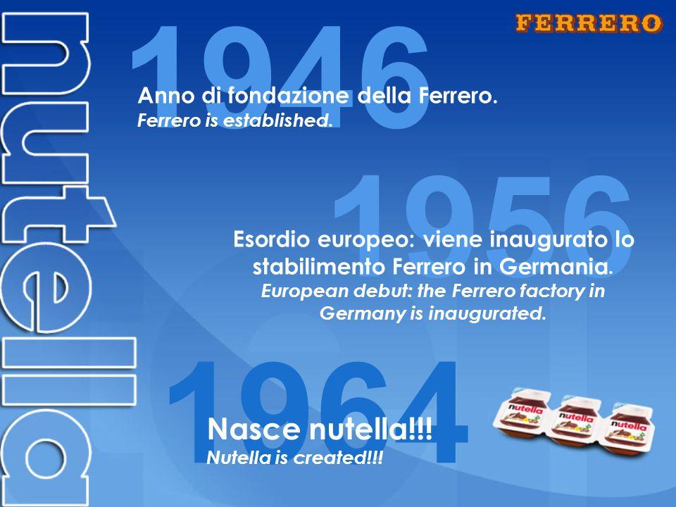 1946 1964 Nasce nutella!!.Nutella is created!!. Anno di fondazione della Ferrero.