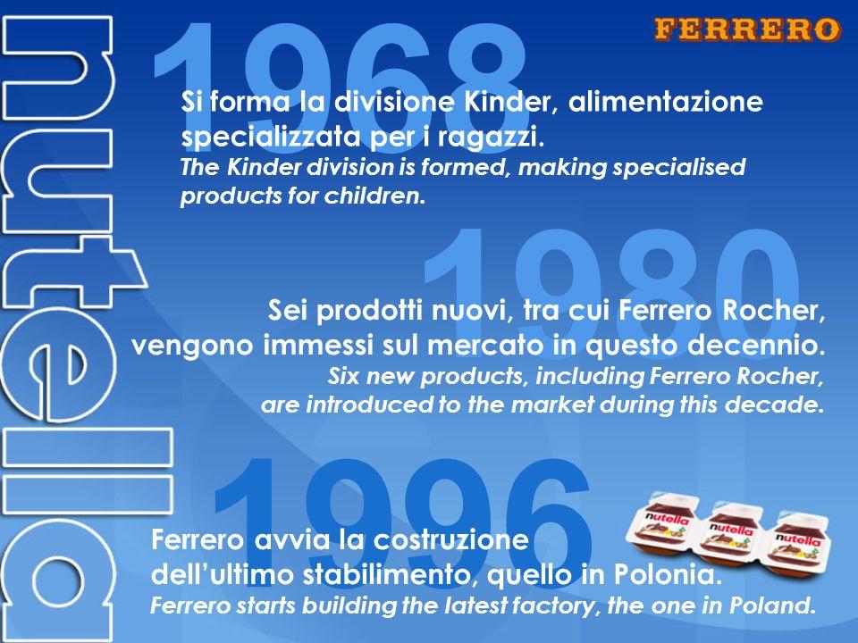 1968 1980 1996 Sei prodotti nuovi, tra cui Ferrero Rocher, vengono immessi sul mercato in questo decennio.