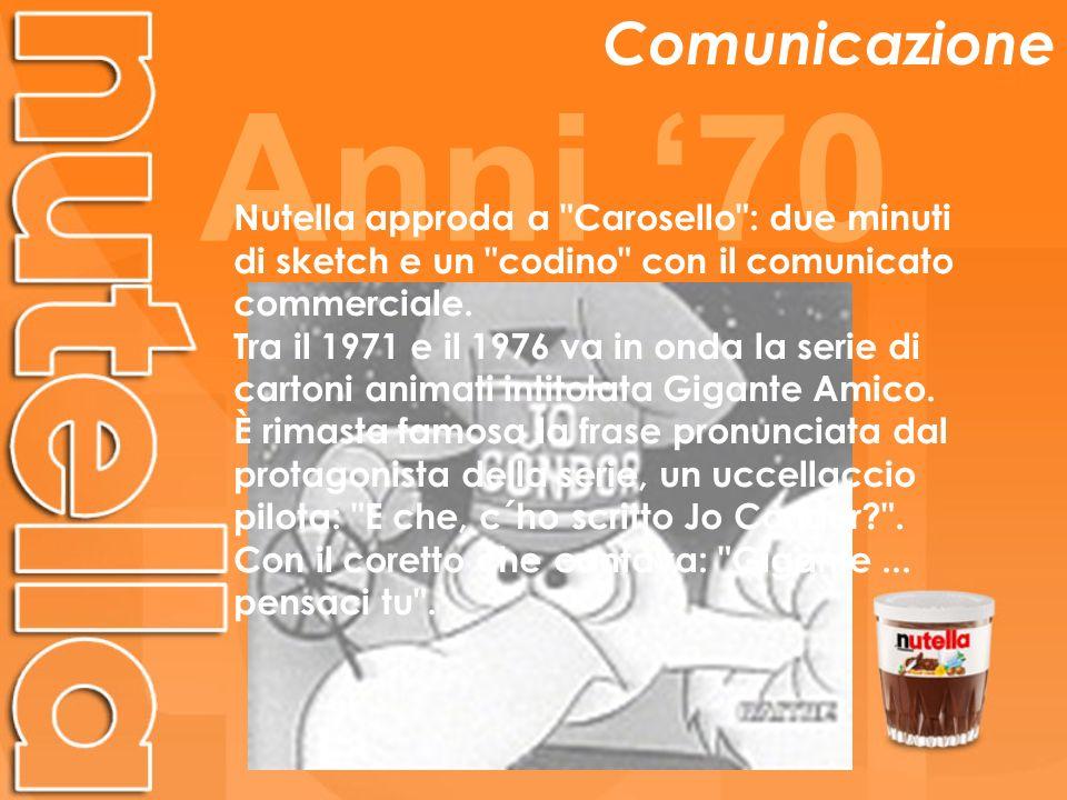 Anni 70 Comunicazione Nutella approda a Carosello : due minuti di sketch e un codino con il comunicato commerciale.