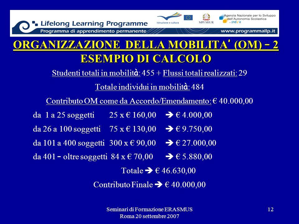 Seminari di Formazione ERASMUS Roma 20 settembre 2007 12 ORGANIZZAZIONE DELLA MOBILITA (OM) – 2 ESEMPIO DI CALCOLO Studenti totali in mobilit à : 455