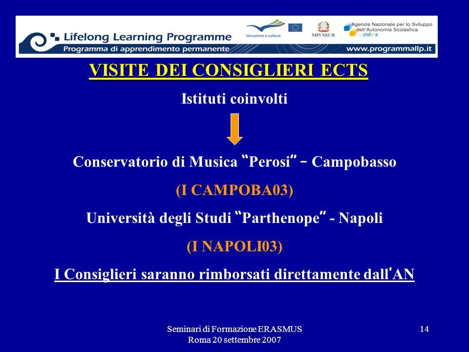 Seminari di Formazione ERASMUS Roma 20 settembre 2007 14 VISITE DEI CONSIGLIERI ECTS Istituti coinvolti Conservatorio di Musica Perosi – Campobasso (I