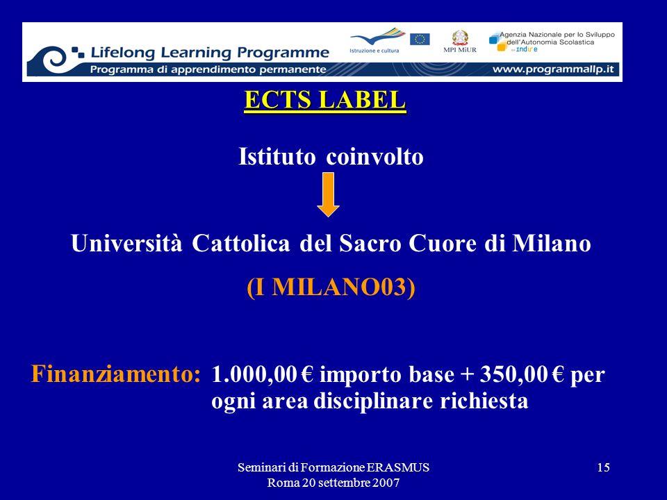 Seminari di Formazione ERASMUS Roma 20 settembre 2007 15 ECTS LABEL Istituto coinvolto Università Cattolica del Sacro Cuore di Milano (I MILANO03) Fin