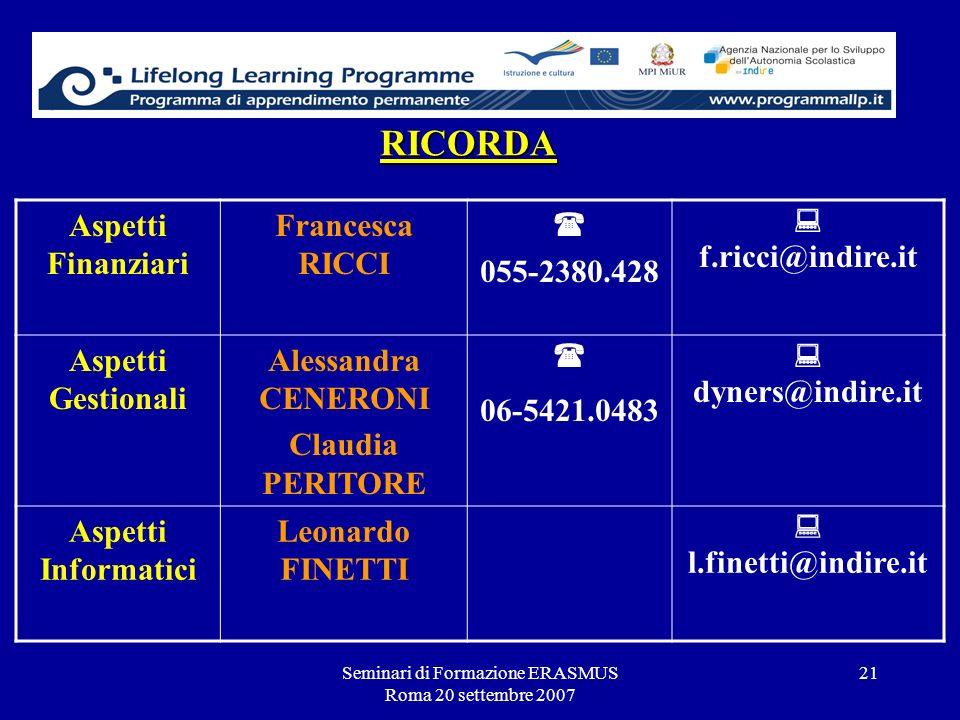 Seminari di Formazione ERASMUS Roma 20 settembre 2007 21 RICORDA Aspetti Finanziari Francesca RICCI 055-2380.428 f.ricci@indire.it Aspetti Gestionali