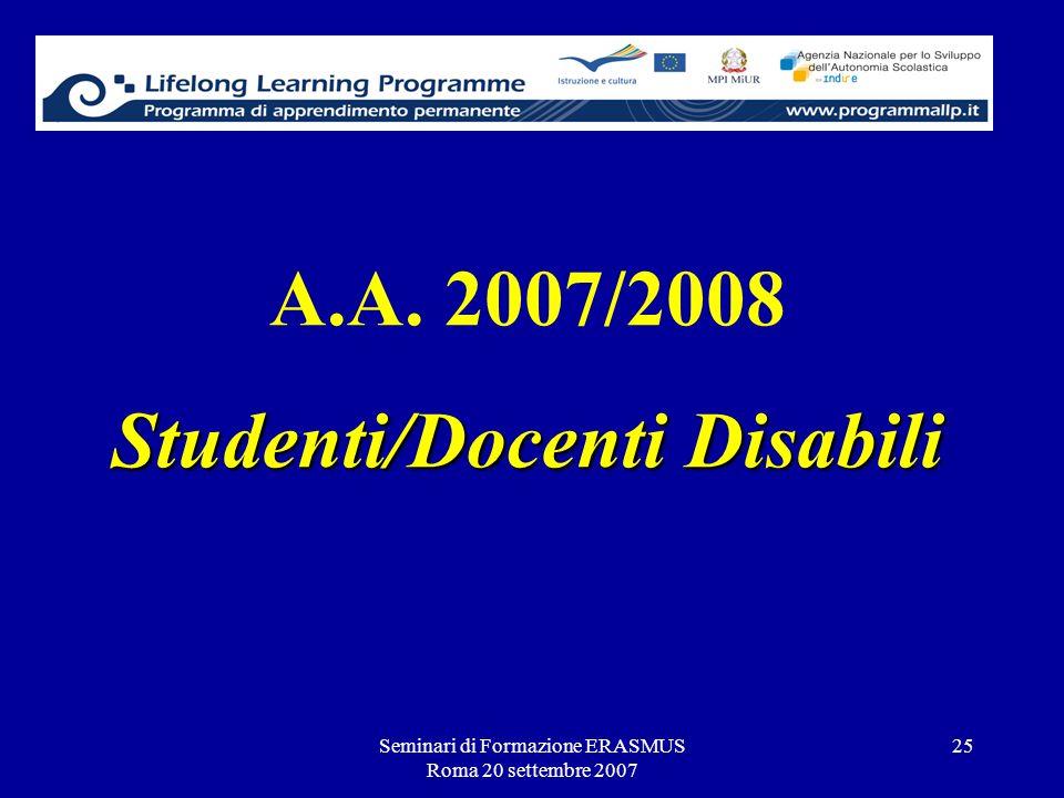 Seminari di Formazione ERASMUS Roma 20 settembre 2007 25 Studenti/Docenti Disabili A.A. 2007/2008 Studenti/Docenti Disabili