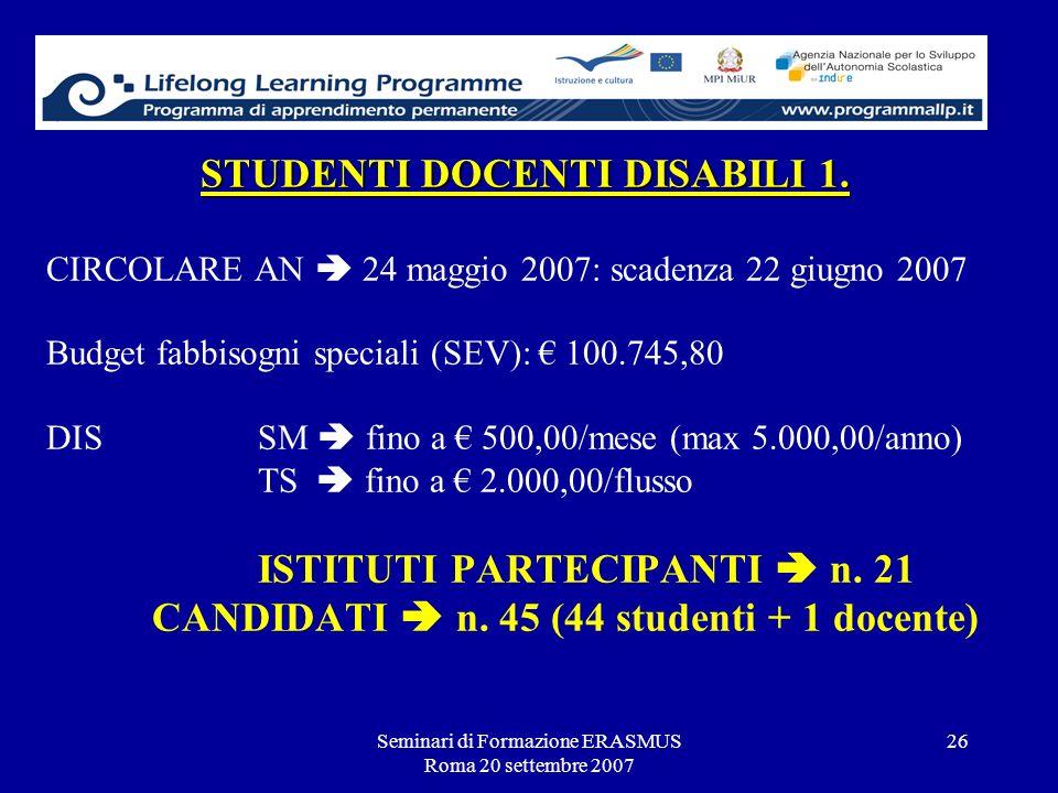 Seminari di Formazione ERASMUS Roma 20 settembre 2007 26 STUDENTI DOCENTI DISABILI 1. STUDENTI DOCENTI DISABILI 1. CIRCOLARE AN 24 maggio 2007: scaden