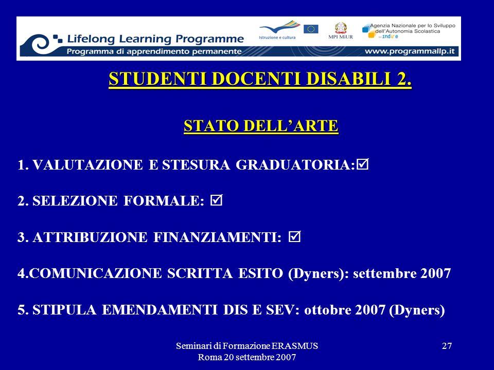 Seminari di Formazione ERASMUS Roma 20 settembre 2007 27 STUDENTI DOCENTI DISABILI 2. STATO DELLARTE STUDENTI DOCENTI DISABILI 2. STATO DELLARTE 1. VA