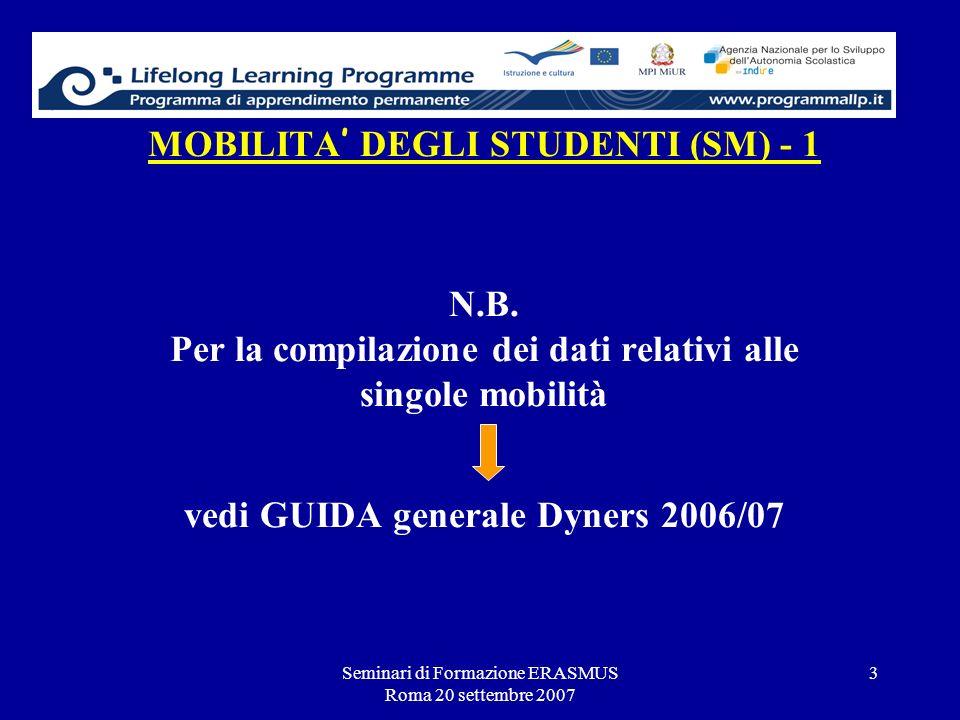 Seminari di Formazione ERASMUS Roma 20 settembre 2007 3 MOBILITA DEGLI STUDENTI (SM) - 1 N.B. Per la compilazione dei dati relativi alle singole mobil