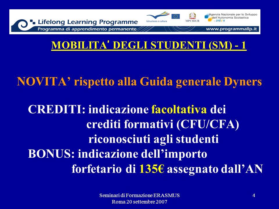 Seminari di Formazione ERASMUS Roma 20 settembre 2007 4 MOBILITA DEGLI STUDENTI (SM) - 1 NOVITA rispetto alla Guida generale Dyners CREDITI: indicazio