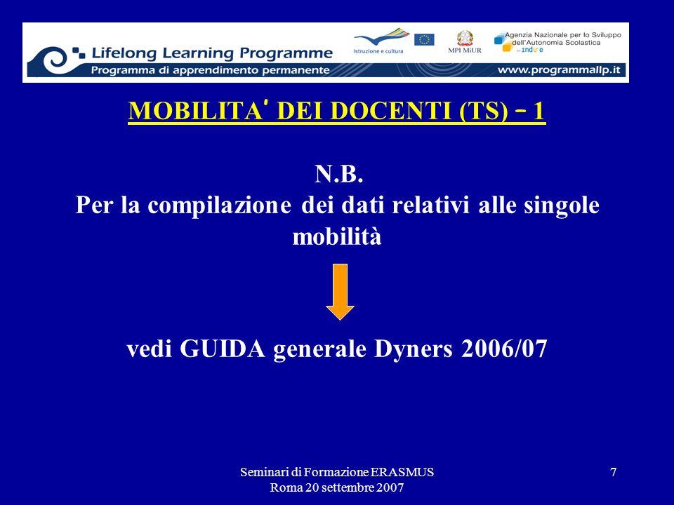 Seminari di Formazione ERASMUS Roma 20 settembre 2007 7 MOBILITA DEI DOCENTI (TS) – 1 N.B. Per la compilazione dei dati relativi alle singole mobilità