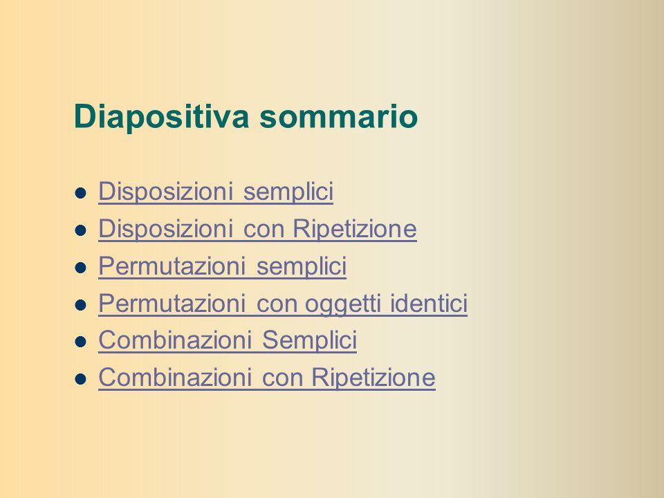 Diapositiva sommario Disposizioni semplici Disposizioni con Ripetizione Permutazioni semplici Permutazioni con oggetti identici Combinazioni Semplici Combinazioni con Ripetizione