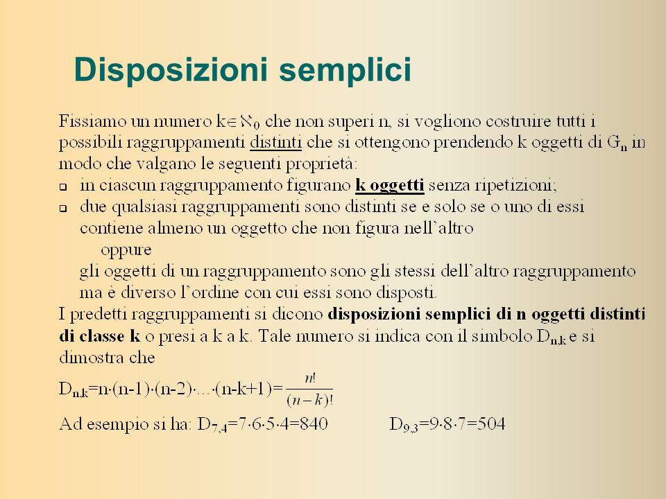 Premessa Calcolo Combinatorio Consideriamo un insieme di n oggetti: G={a 1,a 2,a 3,…a n } con n di natura qualunque ma perfettamente distinguibili lun