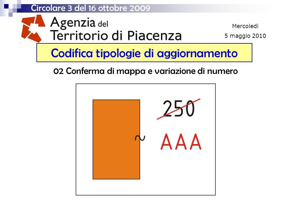 di Piacenza Mercoledì 5 maggio 2010 Codifica tipologie di aggiornamento Circolare 3 del 16 ottobre 2009 02 Conferma di mappa e variazione di numero