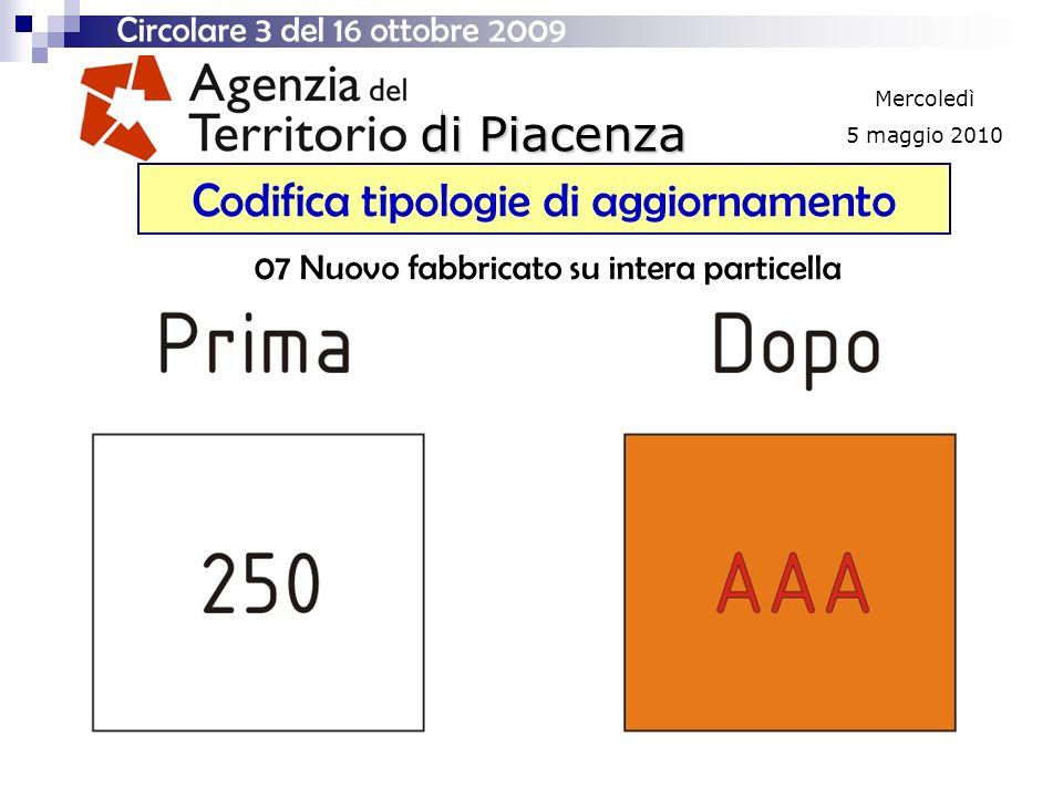 di Piacenza Mercoledì 5 maggio 2010 Codifica tipologie di aggiornamento Circolare 3 del 16 ottobre 2009 07 Nuovo fabbricato su intera particella