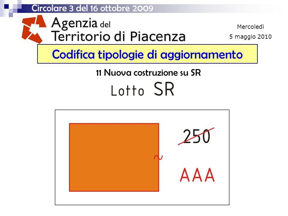 di Piacenza Mercoledì 5 maggio 2010 Codifica tipologie di aggiornamento Circolare 3 del 16 ottobre 2009 11 Nuova costruzione su SR