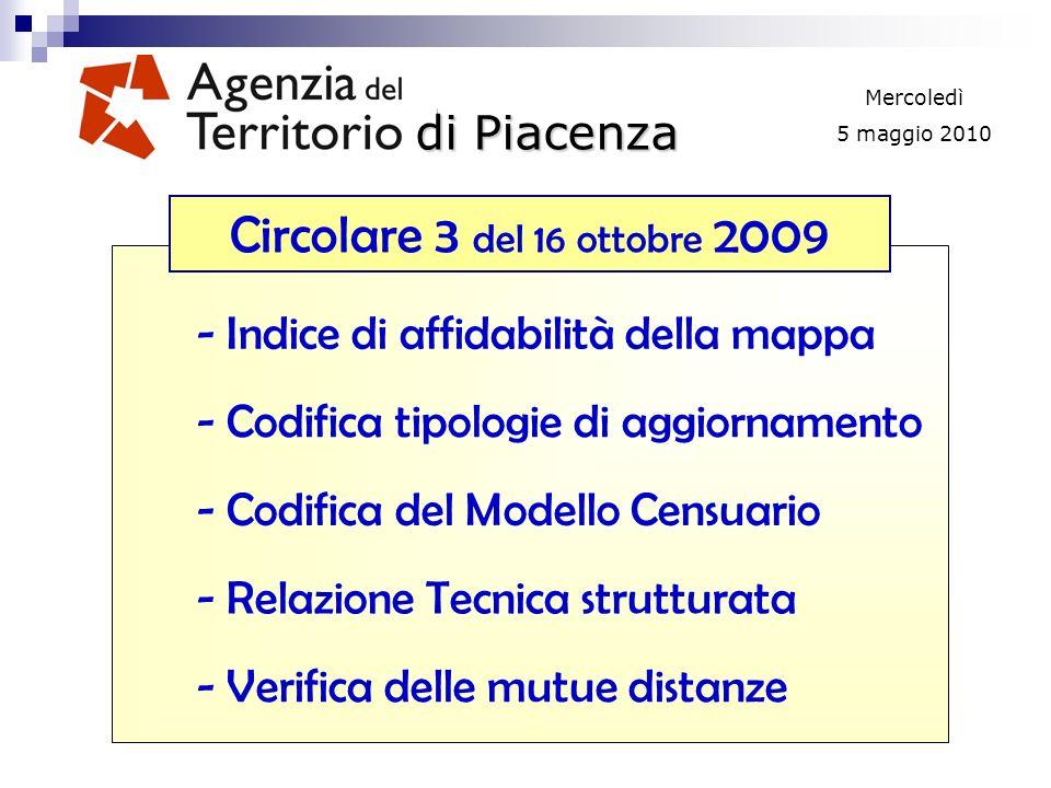 di Piacenza Mercoledì 5 maggio 2010 - Indice di affidabilità della mappa - Codifica tipologie di aggiornamento - Codifica del Modello Censuario - Relazione Tecnica strutturata Circolare 3 del 16 ottobre 2009 - Verifica delle mutue distanze