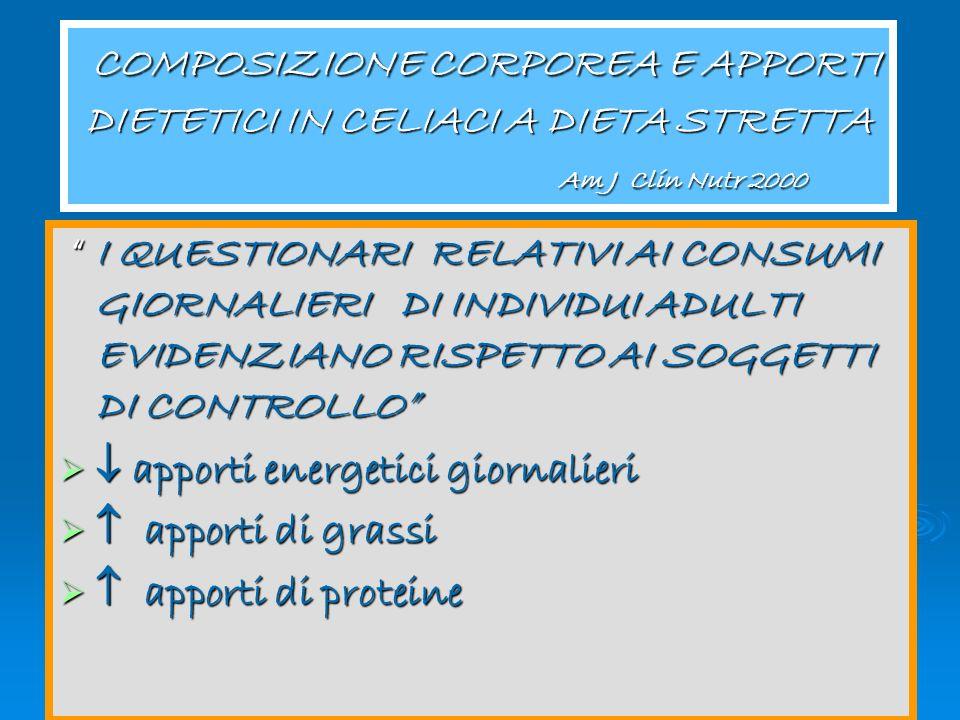 Congresso Regionale Aic 2005 COMPOSIZIONE CORPOREA E APPORTI DIETETICI IN CELIACI A DIETA STRETTA Am J Clin Nutr 2000 COMPOSIZIONE CORPOREA E APPORTI