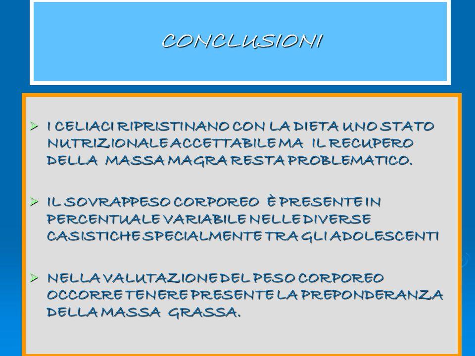 Congresso Regionale Aic 2005 I celiaci ripristinano con la dieta uno stato nutrizionale accettabile anche se la massa grassa e il peso corporeo dei ce