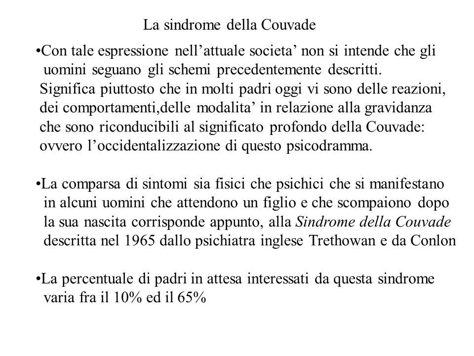 La sindrome della Couvade Con tale espressione nellattuale societa non si intende che gli uomini seguano gli schemi precedentemente descritti. Signifi