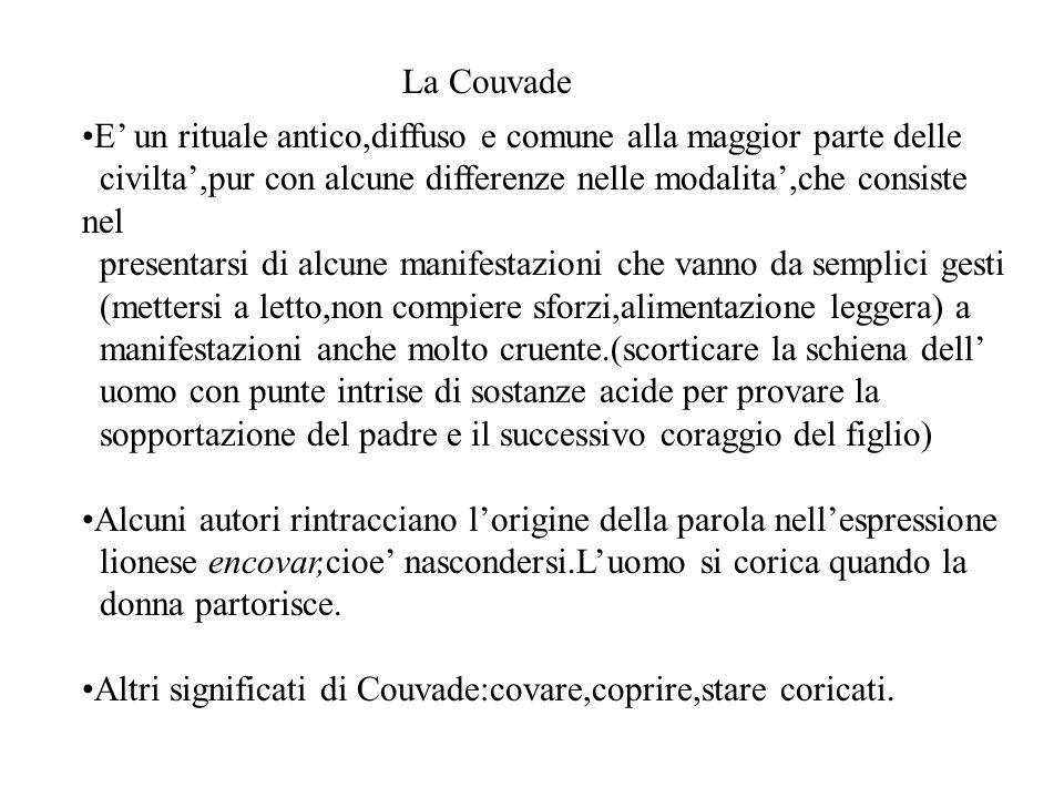 La Couvade E un rituale antico,diffuso e comune alla maggior parte delle civilta,pur con alcune differenze nelle modalita,che consiste nel presentarsi