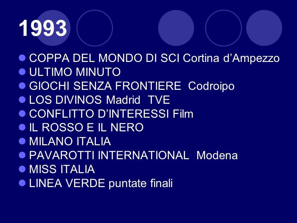 1993 COPPA DEL MONDO DI SCI Cortina dAmpezzo ULTIMO MINUTO GIOCHI SENZA FRONTIERE Codroipo LOS DIVINOS Madrid TVE CONFLITTO DINTERESSI Film IL ROSSO E