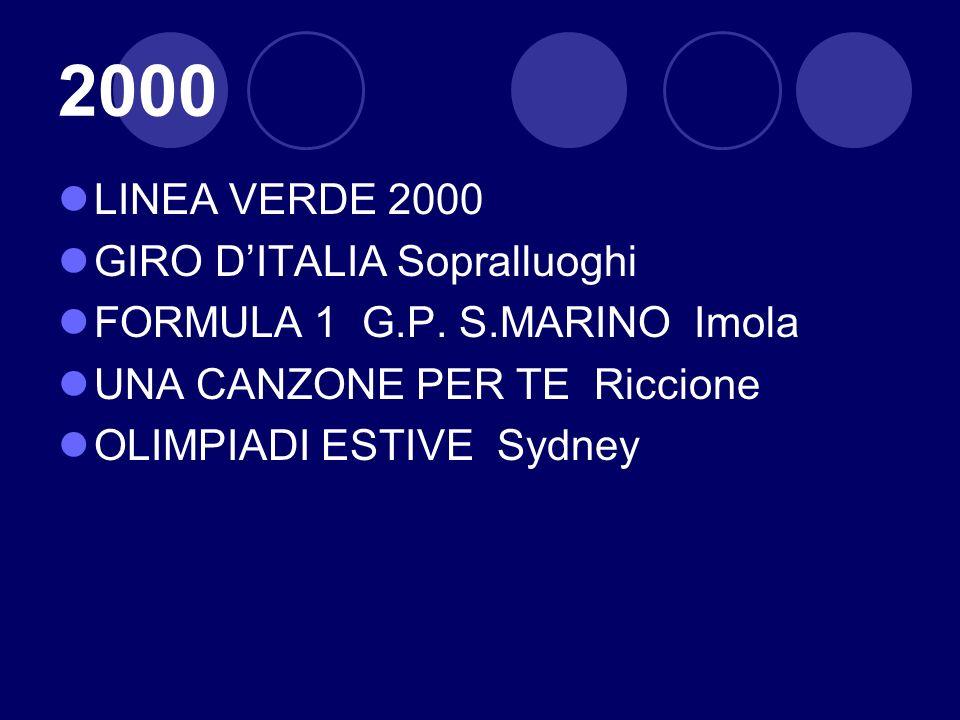 2000 LINEA VERDE 2000 GIRO DITALIA Sopralluoghi FORMULA 1 G.P. S.MARINO Imola UNA CANZONE PER TE Riccione OLIMPIADI ESTIVE Sydney
