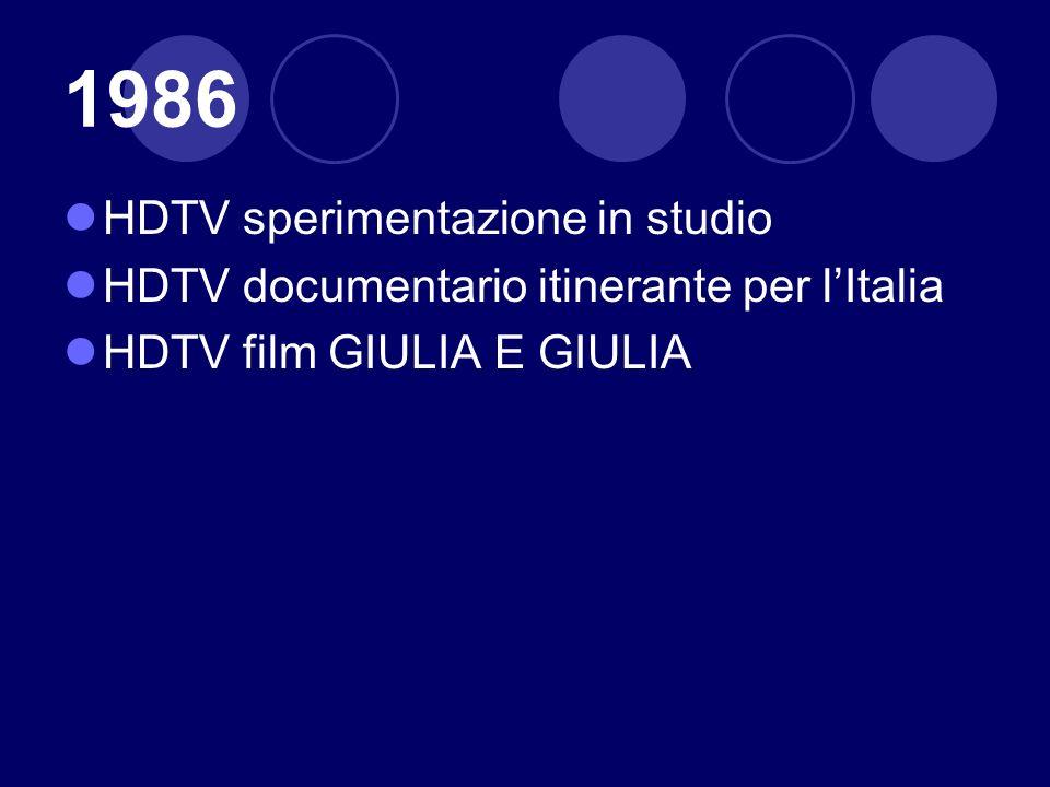 1986 HDTV sperimentazione in studio HDTV documentario itinerante per lItalia HDTV film GIULIA E GIULIA