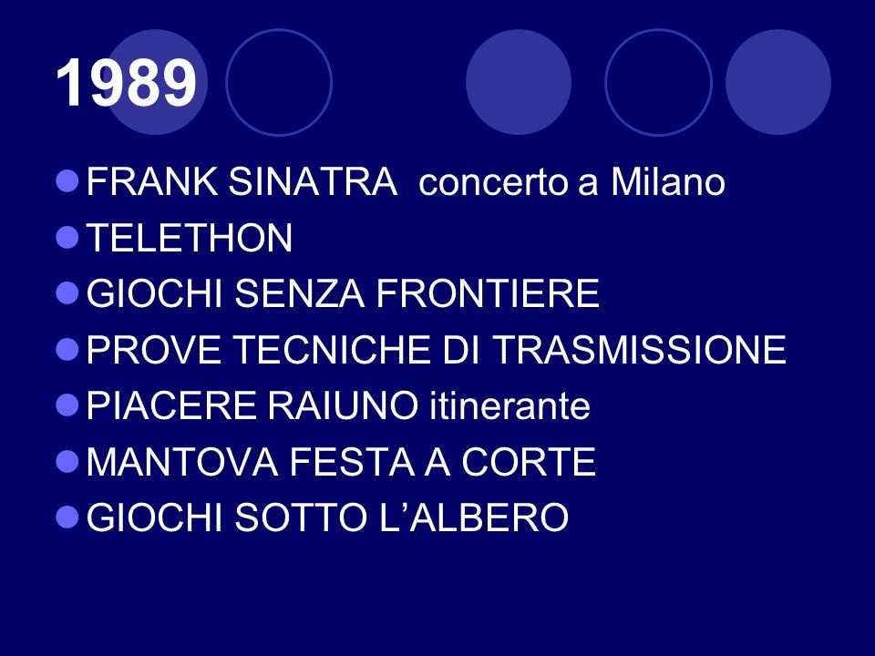 1989 FRANK SINATRA concerto a Milano TELETHON GIOCHI SENZA FRONTIERE PROVE TECNICHE DI TRASMISSIONE PIACERE RAIUNO itinerante MANTOVA FESTA A CORTE GI