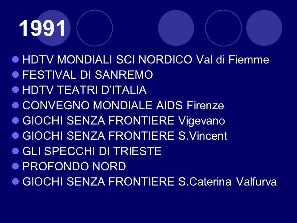 1991 HDTV MONDIALI SCI NORDICO Val di Fiemme FESTIVAL DI SANREMO HDTV TEATRI DITALIA CONVEGNO MONDIALE AIDS Firenze GIOCHI SENZA FRONTIERE Vigevano GI