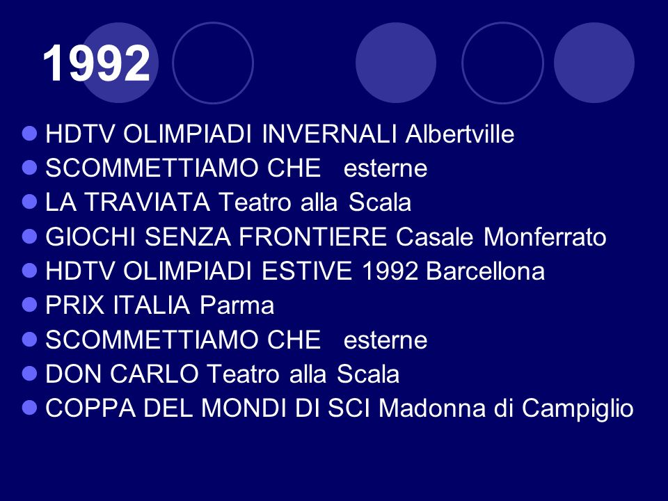 1992 HDTV OLIMPIADI INVERNALI Albertville SCOMMETTIAMO CHE esterne LA TRAVIATA Teatro alla Scala GIOCHI SENZA FRONTIERE Casale Monferrato HDTV OLIMPIA