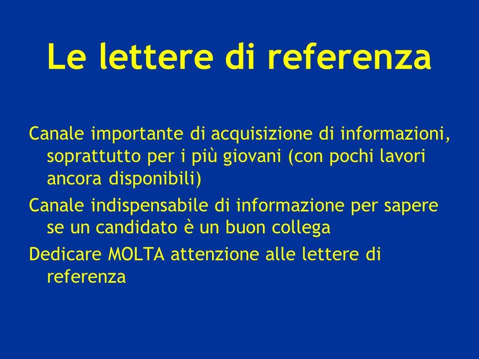 Le lettere di referenza Canale importante di acquisizione di informazioni, soprattutto per i più giovani (con pochi lavori ancora disponibili) Canale