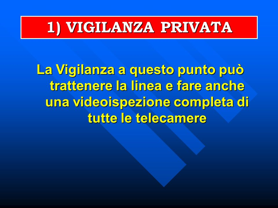 La Vigilanza a questo punto può trattenere la linea e fare anche una videoispezione completa di tutte le telecamere 1) VIGILANZA PRIVATA