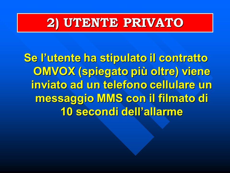 Se lutente ha stipulato il contratto OMVOX (spiegato più oltre) viene inviato ad un telefono cellulare un messaggio MMS con il filmato di 10 secondi dellallarme 2) UTENTE PRIVATO