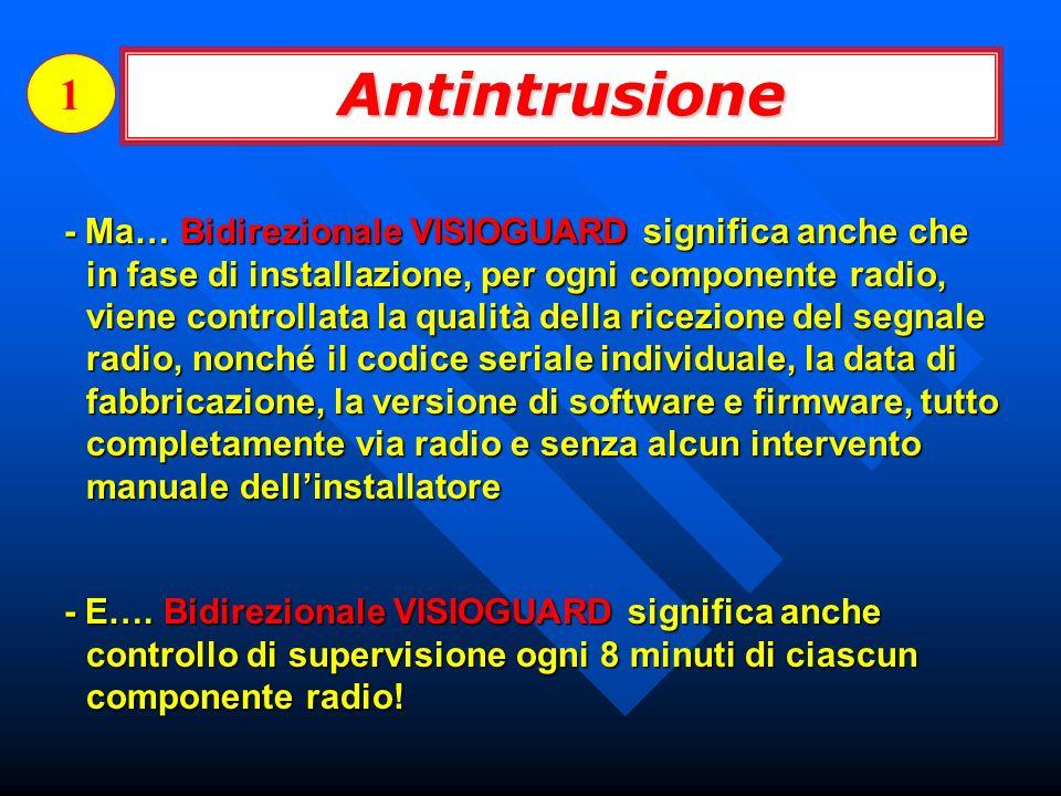 - Ma… Bidirezionale VISIOGUARD significa anche che in fase di installazione, per ogni componente radio, viene controllata la qualità della ricezione d