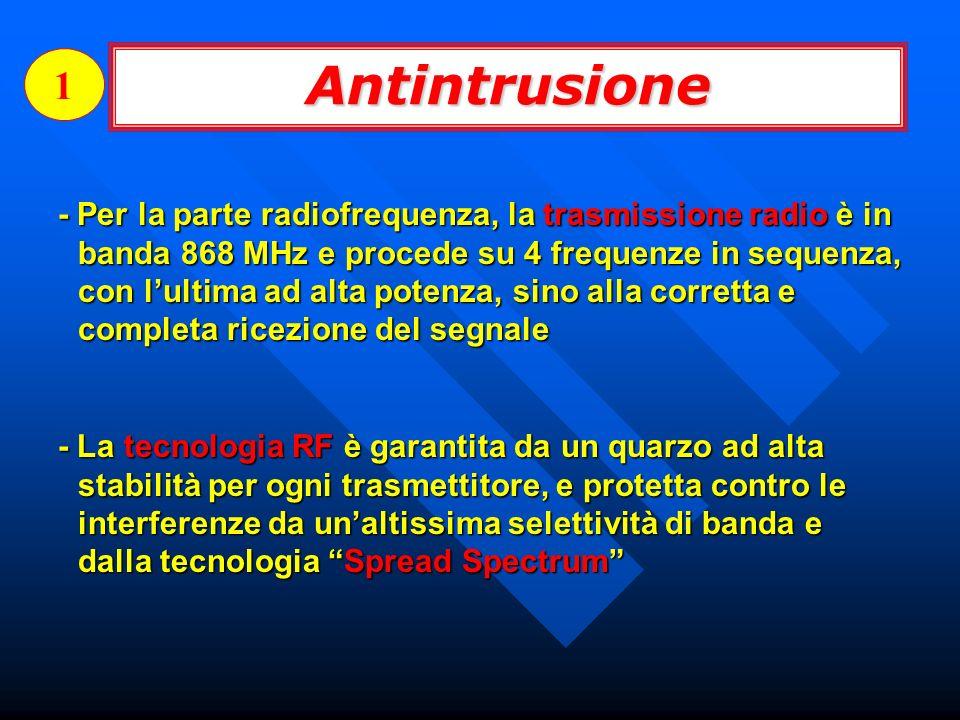 - Per la parte radiofrequenza, la trasmissione radio è in banda 868 MHz e procede su 4 frequenze in sequenza, con lultima ad alta potenza, sino alla c