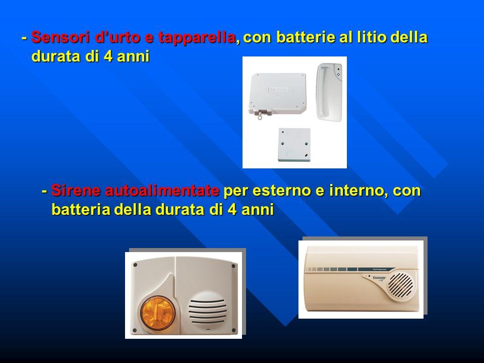 - Sensori durto e tapparella, con batterie al litio della durata di 4 anni - Sirene autoalimentate per esterno e interno, con batteria della durata di