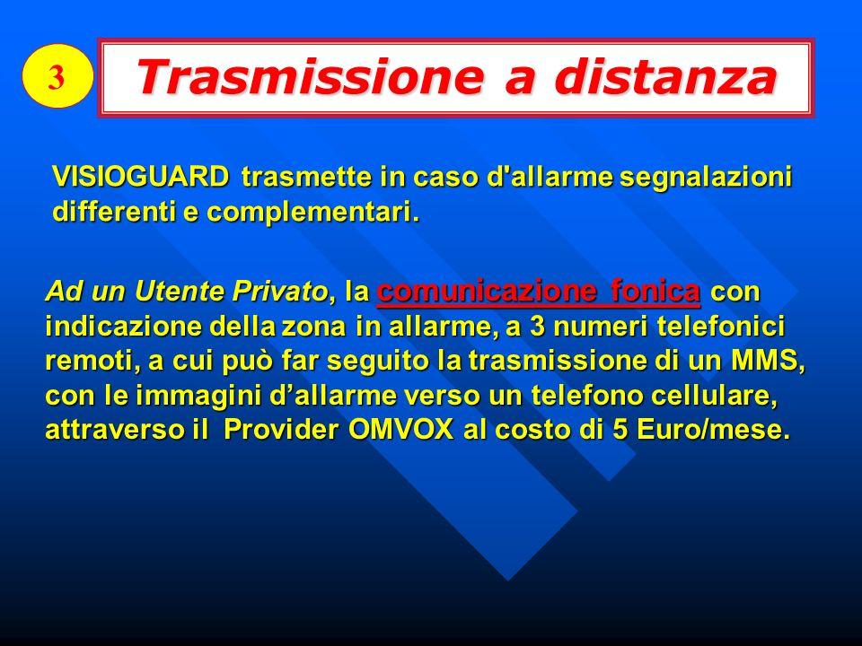 Trasmissione a distanza 3 VISIOGUARD trasmette in caso d'allarme segnalazioni differenti e complementari. Ad un Utente Privato, la comunicazione fonic